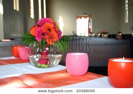 chapel table decor