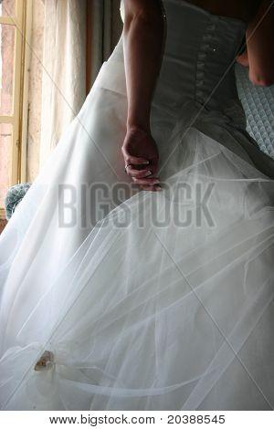 bride at a window