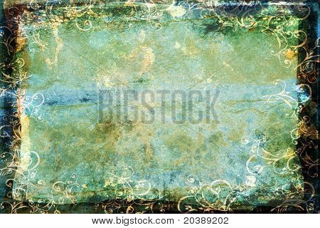 dark faded blue-green sheet with spots and marks, swirls border and burnt frame
