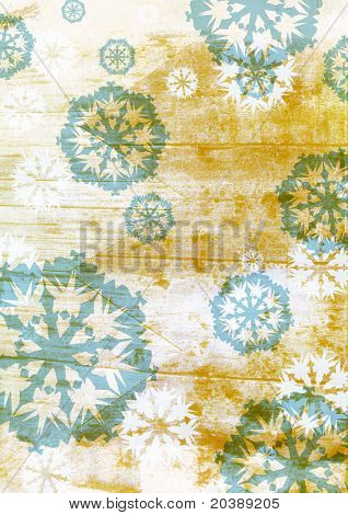 winter collage of snowflakes and grunge brown texture
