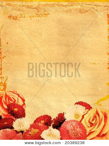 old paper background with many flowers
