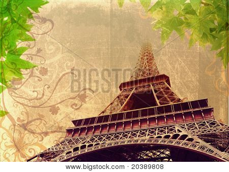 Eiffel Tower in high contrast sepia – France, Paris, on grunge background with swirls and scrolls