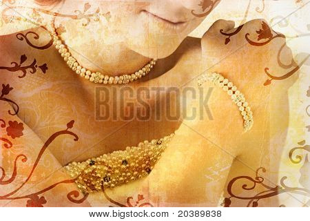 Grunge illustration of beautiful bride with rich pearl necklace, bracelet and rich detail on dress