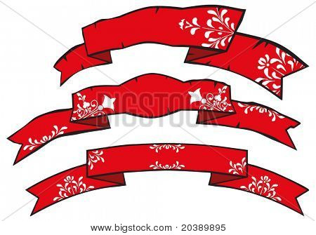 Vector grunge holidays banners with floral folk swirls and scrolls patterns