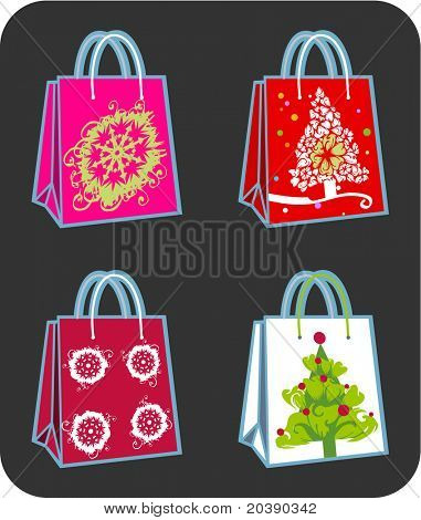 Four vector shopping bags illustration with Christmas tree and snowflakes ornaments