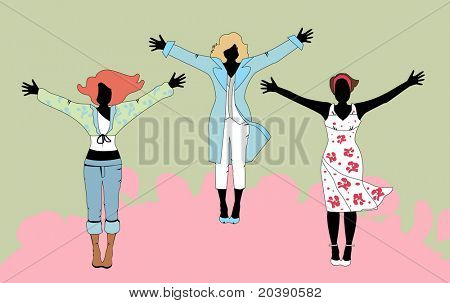 Design of three joyous women in casual and work-wear according to different seasons. Coat and the wrap-around come off revealing a waistcoat and camisole respectively. Hair is interchangeable.