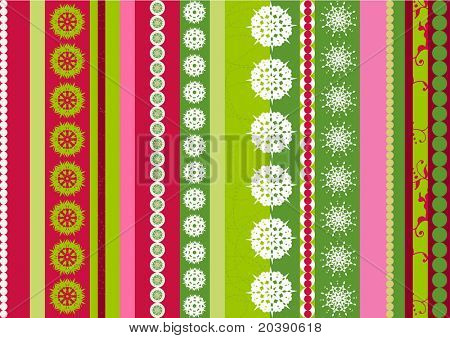 Bright stripes Christmas  background with snowflakes elements -  illustration
