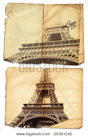 vintage photo of symbol of love Eiffel Tower on grunge pages of an antique journal with copy space, clipping path included