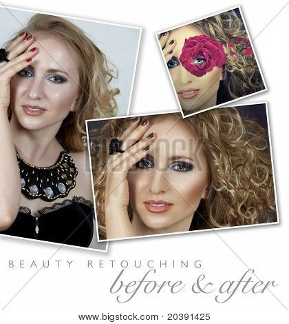 before and after of a woman's face retouching - close-up of professional high-end image retouch with hair manipulation and manicure color change