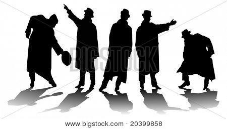 Cinco silhuetas dos homens. Uma ilustração do vetor.