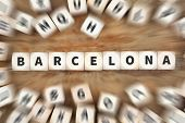 Barcelona Town City Travel Traveling Dice Business Concept poster