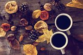 Постер, плакат: A Cup Of Coffee With Espresso And Autumn Leaves