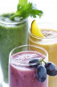picture of fruit-juice  - a selection of fresh fruit and vegetable smoothies - JPG