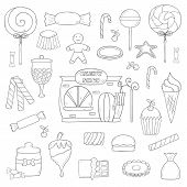 Vector Hand Drawn Candy Chop Icons poster