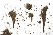 stock photo of mud  - Splattered mud with drip pattern isolated on a white background - JPG