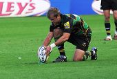 NORTHAMPTON, UK - SEPT 05: Steven Myler places the ball to take a penalty for Northampton during Nor
