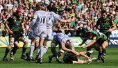 NORTHAMPTON, UK - SEPT 05: Ben Foden claims the ball (Centre) during the Northampton Saints vs Leice