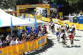 MT. BALDY, CA - MAY 21: A pack of riders races around the last turn towards the finish line during t