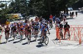 MT. BALDY, CA - MAY 21: The peloton races up the final ascent during the 7th Stage of the Amgen Tour
