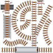 stock photo of train track  - Isolated Railroad elements to create your own train road - JPG
