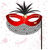 stock photo of mummer  - on an abstract background of a carnival red half mask decorated with feathers and veil - JPG