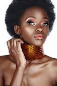 picture of nose ring  - beautiful south African woman with bronze necklace and natural make - JPG