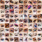 collection of 81 pictures of woman eyes with artistic make-up, models of different ethnicities.