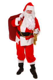picture of santa claus hat  - Santa Claus standing up on white background - JPG