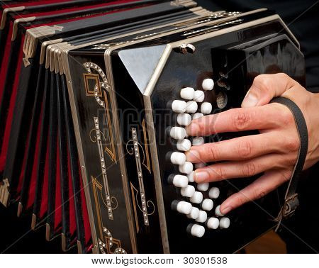 Playing Traditional Bandoneon.