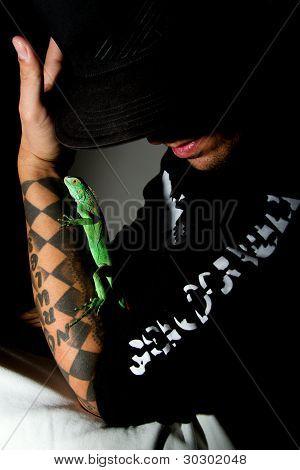Man And Iguana