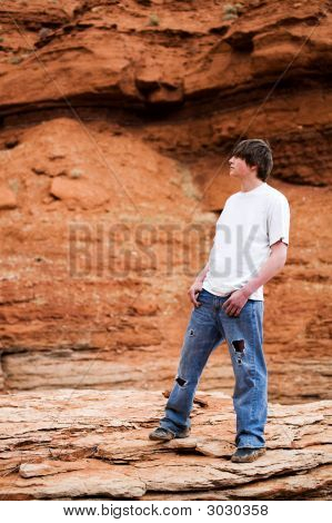 Teenager Male In Mountains
