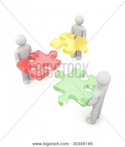 3d people with puzzle. Partnership metaphor. Image contain clipping path