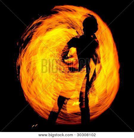 Night Performance Orange Flames