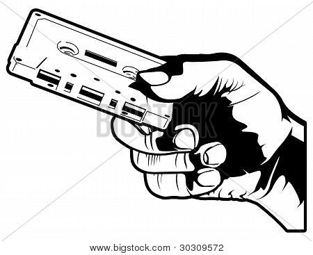 Hand Holding Out A Cassette