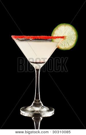 Back Lit Key Lime Martini With Red Sugar