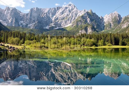 Italia - Udine - Lago Di Fusine And Monte Mangart Reflex On Lake