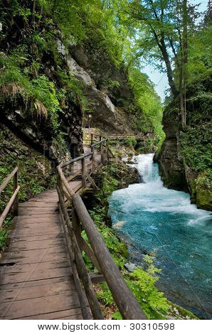 Vintgar gorge and wood path at Bled - Slovenia