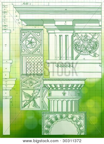 Hand draw sketch doric architectural order & green bokeh background