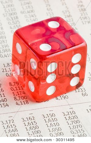 One Red Dice On The Financial Newspaper