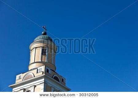 Old Yellow Chruch And Blue Sky