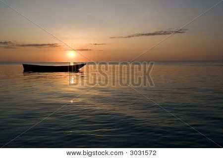 Row Boat At Sunset In Zanzibar Africa 1
