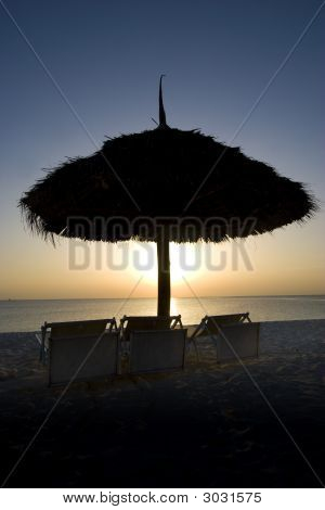 Resort Shade Unbrella At Sunset In Zanzibar Africa 1