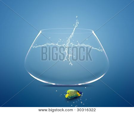 Angelfish Jumping Out Of  Fishbowl