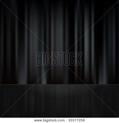 Black closed curtain with reflection