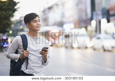 poster of Young Traveler Browsing Gps Online Maps Application.