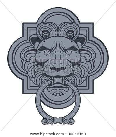 Vector Lion Head Door Knocker