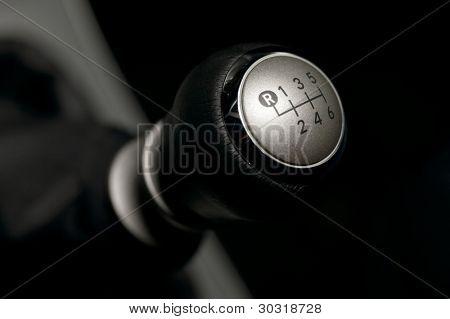 Six speed manual gearstick of a car