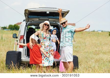 poster of Vacation, Travel - Family Ready For The Travel For Summer Vacation. Suitcases And Car Route. People