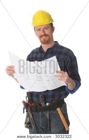 Construction Worker With Architectural Plans