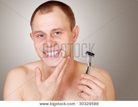 Attractive Young Man After Shave